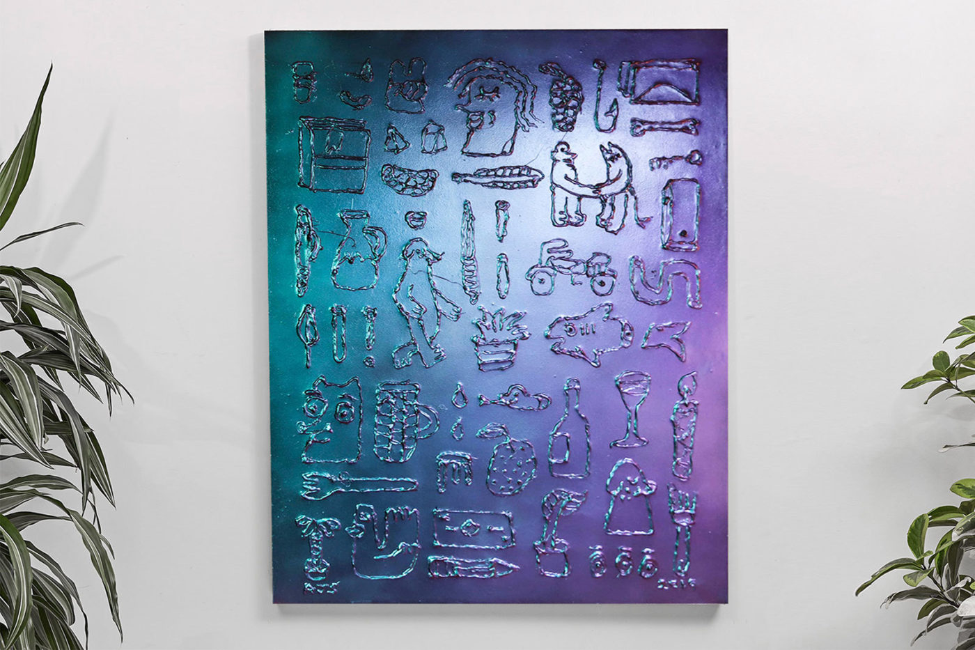 Photochromic hieroglyphics. Dated 2019. Acrylic, raised enamel & photochromic (colour changing) pigment on 760x1015mm canvas (Available)