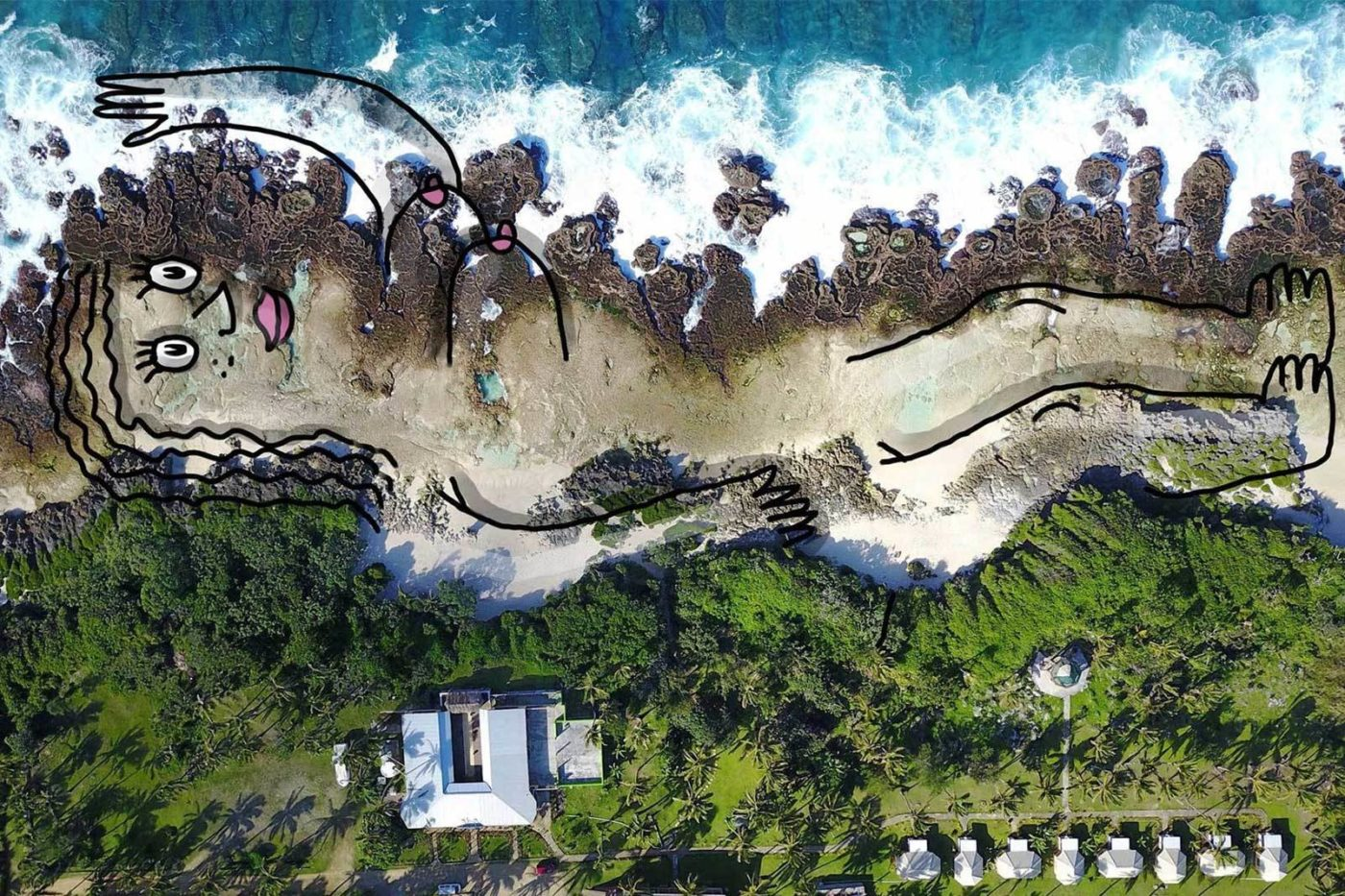 Mother nature digital drawing on artists own aerial photo. Vava'u, Tonga