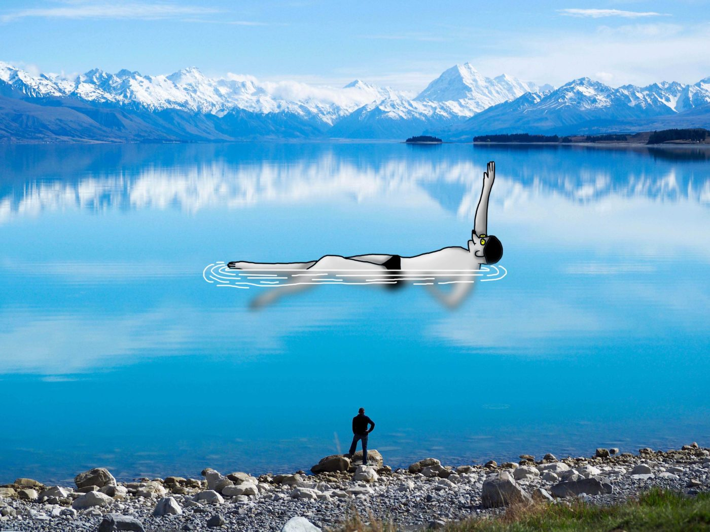 Digital drawing on Dave Daves photo. Lake Pukaki, New Zealand